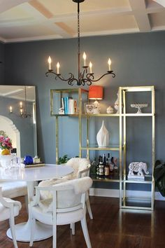 wall colors, dining rooms, house tours, houses, shelving units, brass, apartments, kitchen styling, alex o'loughlin