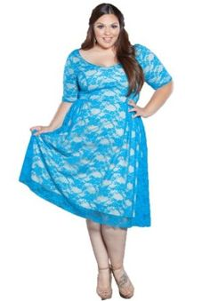 Sealed With A Kiss Designs Plus Size Kara Lace Dress in Blue,