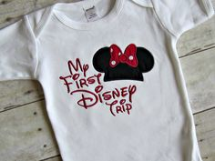 Custom My First Disney Trip Applique Minnie Mouse or Mickey Mouse Embroidered Shirt or Onesie- Disneyland- Disney World- Vacation. $18.00, via Etsy.