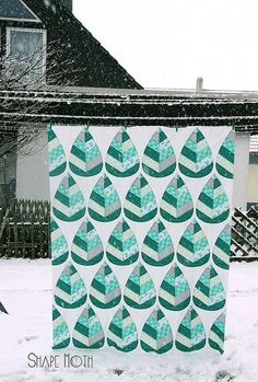 I love these shapes!   Winter Forest Quilt by Shape Moth