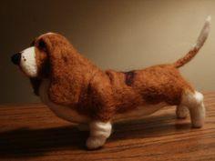 basset sculptures, artists, hound dog, dogs, felt basset, artist needl, dog sculptur, basset hound, needl felt