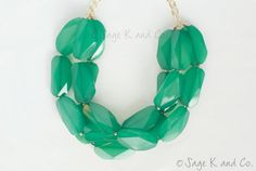 Emerald/Kelly Green Triple Strand Statement Necklace by SageKandCo, $23.00