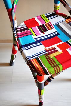 mod podge fabric onto chairs?  yes!