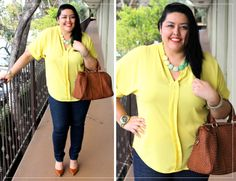 Monique of Curves and Chaos pairs her yellow blouse with our ombre mint statement necklace in this sunny outfit!