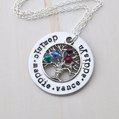 Family tree Necklace Personalized birthstone necklace mother necklace Family name necklace by jewelmint