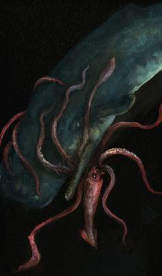 Giant Squid vs Sperm Whale