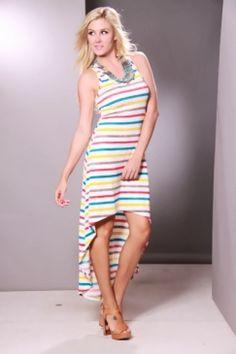 Teal Multi Striped Scoopneck Racerback High Low Hem Dress