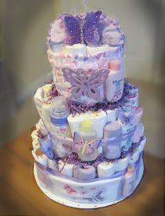 Purple Butterfly Baby Shower Diaper Cake