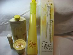 Avon/ Topaze/ Cologne Spray/ Talc Tin/ Cream sachet/ Jeweled Top/ Demistick