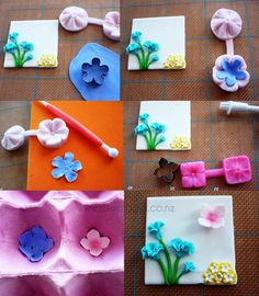 Spring Flower cake, purple blossom & pink hydrangea flowers tutorial. How to make them