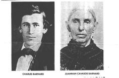 Charles Barnard ran a trading post near Waco in the 1840s. Trading with various Indian tribes, he ransomed from a band of Comanches a young girl captive named Juana Cavazos. Charles and Juana married. Together they operated the trading post, then in 1859 built a 3½ story stone grist mill on the nearby Paluxy river. The town of Glen Rose built up around the mill where they became leading citizens. They had 14 children and lived out their lives at the old trading post which still stands today.