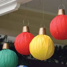 beach balls (wrapped in plastic tablecloth) to look like giant ornaments