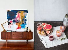 furniture arrangement, wood furniture, prefer thing, abstract art, favorit thing, abstract paintingdiy, beauti mess
