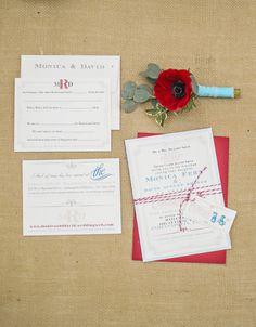 cute way to wrap your invitation suite with the tag in front