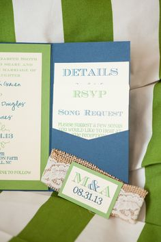 blue and green wedding invites http://www.weddingchicks.com/2013/10/25/blue-and-green-country-wedding/