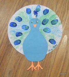 Peacock Craft- fingerpaints and glue.  Bridget's favorites.