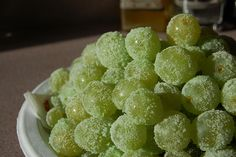 Oh my... sour patch grapes! Grapes coated in watermelon jello mix. A healthy snack that tastes like candy.
