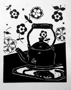 Tea Kettle - original woodblock print