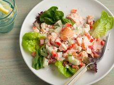 food network, salmon salad, salad recipes, bell peppers, green peppers, tuna salad, salads, party recipes, paula deen