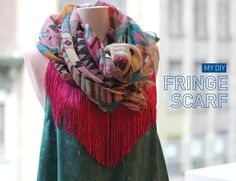 ispydiy's DIY fringe scarf - click pic to check out more of our Top 5 DIY Scarves