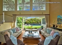 Elegant Hawaii living with tranquil gardens and mountain views! Beautiful open living room design and decor! -- Luxury home interior design and decorating ideas --