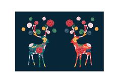Lovely Deers  Wedding Night Series  Turquoise and Red by dekanimal, $15.00  #munire #pinparty #MadeinUSA