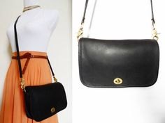 Vintage Coach Black Pocket Purse Bag 9755 Boho by hanniandmax, $79.00