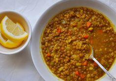 Curried lentil & farro soup