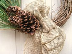Winter Pine and Burlap Wreath