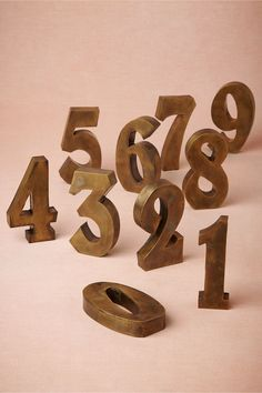 Antiqued Brass Table Numbers from BHLDN