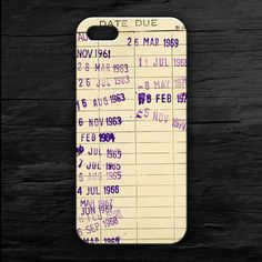 This iPhone case looks like an old-school library due date card.