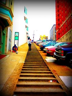 San Francisco, California.  Some hills are so steep, sidewalks  become steps.  And some hills are even steeper!