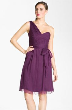 Amsale One Shoulder Crinkle Silk Chiffon Dress available at #Nordstrom