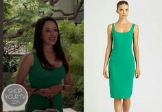 Victoria Grayson (Madeleine Stowe) wears this green scoopneck sleeveless dress with back vent and seaming detail in this week's episode of R...
