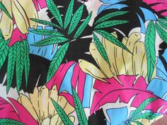 Fabric Vintage 1970s Tropical Polynesian Hawaiian print