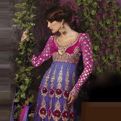 Purple and Magenta Net Anarkali Churidar Kameez