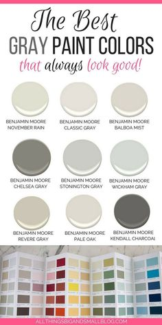 Looking for the perfect light gray paint color? Most popular gray paint colors from Benjamin Moore and Sherwin-Williams perfect for interiors, dining room, gray bedroom, dark wood, kitchen cabinets! See Revere Pewter, Balboa Mist, Pale Oak! #graypaint #lightgraypaint #graypaintcolors