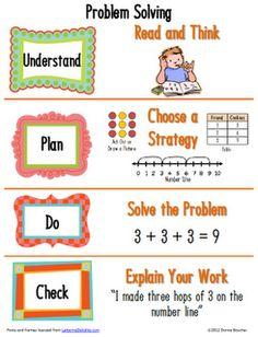 Classroom Freebies Too: K-2 Math Problem Solving Poster