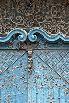 Ornate blue door, Wroclaw,Poland