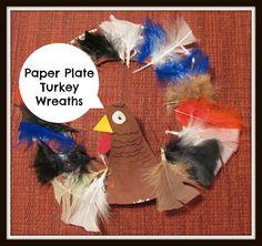 Paper Plate Turkey Wreaths.  Thanksgiving crafts for kids.
