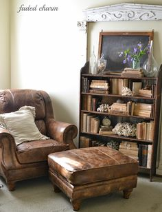 Faded Charm: ~Where Bloggers Create 2014~ Not for my craft room but a comfy leather sofa and battered books? yes please!