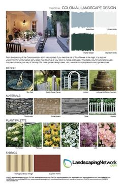Visit Landscaping Network for a high-res, printable PDF of this style guide. garden design, style guid, coloni landscap, landscap network, garden landscaping, design sheet, landscape designs, design styles, landscap design