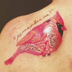 My Cardinal tattoo - in memory of my grandmother, with her handwriting from a letter she wrote me