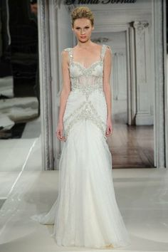Gatsby Inspired Wedding Gowns 2014 | Confetti Daydreams - A gorgeous wedding gown with bold illusion corset design and embellished sleeves that stand out from the soft flowing fabric of the gown (Pnina Tornai Spring 2014 Bridal Collection) ♥  ♥  ♥Wedding #Gatsby #GatsbyWedding #WeddingDress #1920s