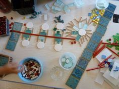 tile art, reggio inspir, reggio emilia, kindergarten projects, blog, mosaic, elementary art, snowflak, glass tiles