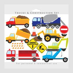 Trucks clipart  construction clip art von WinchesterLambourne, $3.40