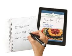 Livescribe 3 smartpen recording - just write on the notebook and it transcribes digitally. Pretty insane.