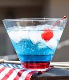 Patriotic Celebration: cake vodka, blueberry schnapps, lemon-lime soda, grenadine