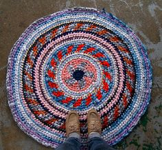 Daisy Fair Isle Recycled Rag Rug by sockmonster on Etsy, $85.00