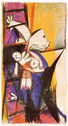 """Picasso. Madre con niño muerto en escalera, 10 de Mayo de 1937 Lápiz y tiza de color sobre papel, 45,7 x 24,4 cm. Estudio para el Guernica. (Todos los bocetos están expuestos junto al Guernica en el  Museo Reina Sofía de Madrid.) """"Monográfico sobre el Guernica, de Pablo Picasso"""" arte.archivoros.c..."""